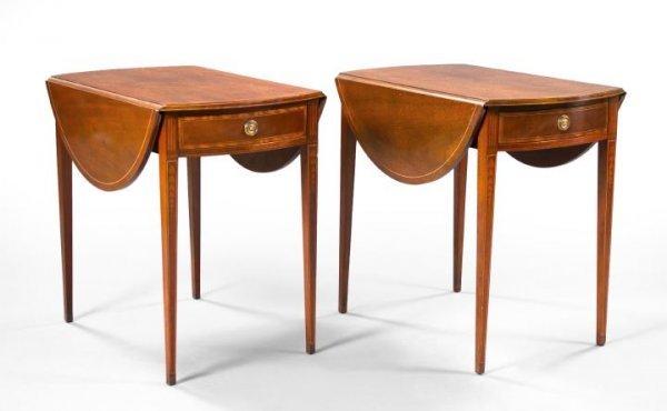 9: Pair of George III-Style Mahogany Drop-Leaf Table