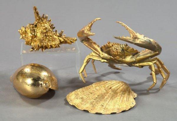 12: Suite of Four Gilt Sea Creatures,