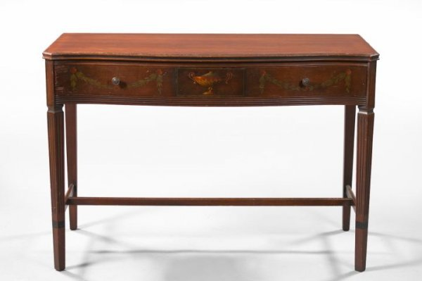 14: American Paint-Decorated Mahogany Side Table,