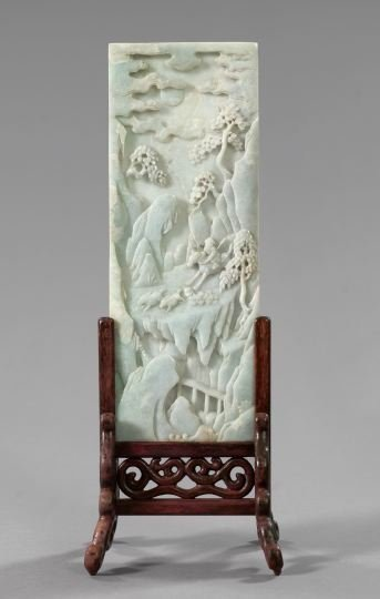 587: Tall Kuang Hsu Carved Jade Scholar's Desk Screen