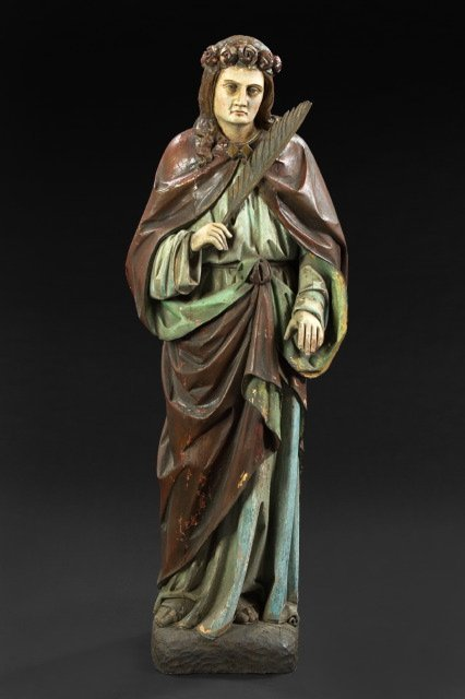 708: Italian Carved and Polychromed Wood Figure