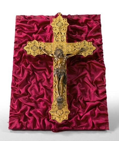 709: French Cased Gilded and Patinated Bronze Crucifix