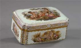 745: Unusual Gilt-Brass-Mounted Meissen Porcelain Box