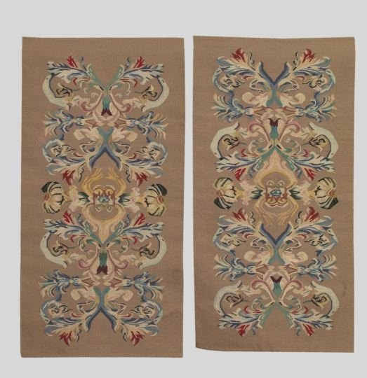 6: Pair of Narrow Gros-Point Needlework Rugs,