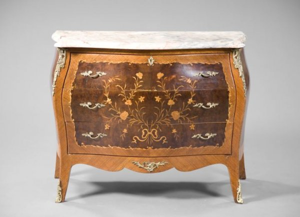 9: Regence-Style Burlwood and Marble-Top Commode