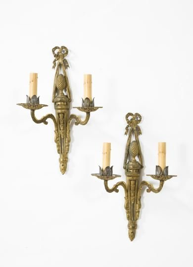 11: Louis XVI-Style Gilt-Bronze Two-Light Appliques