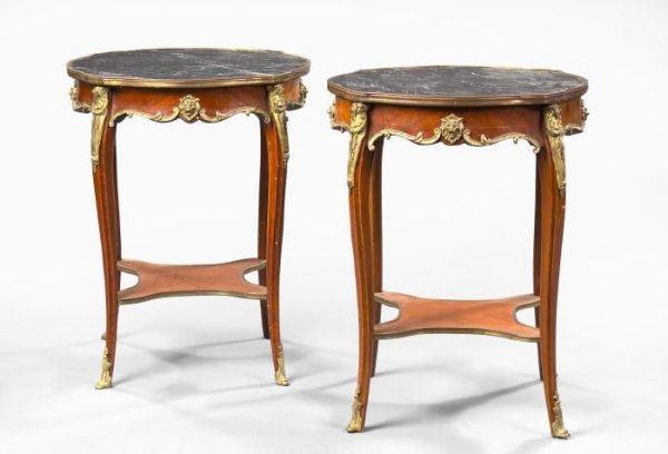 21: French Mahogany and Marble-Top Side Tables