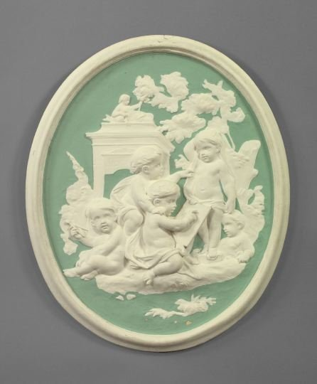 23: Attractive Bas-Relief Composition Oval Plaque