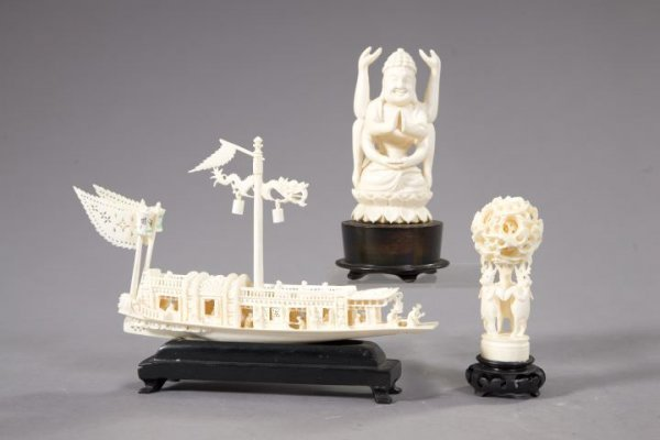 49: Group of Three Carved Ivory Figures,
