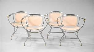 778 Italian BrassMounted Stainless Steel Armchairs