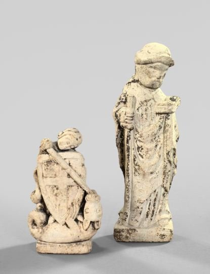 827: Group of Two Cast-Stone Religious Figures,