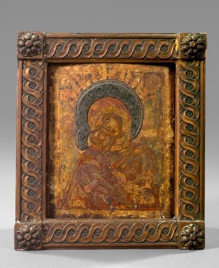 837: Russian Polychromed Gold-Ground Wooden Ikon,