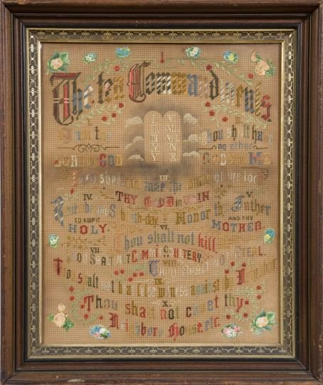 846: American Victorian Foil-Backed Embroidered Panel