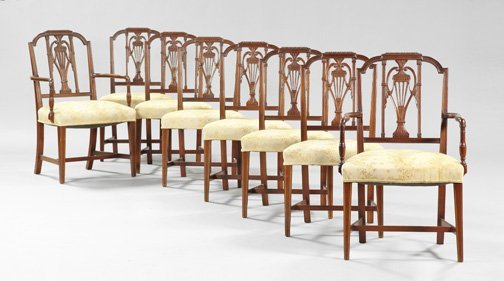 10: Eight Sheraton-Style Mahogany Dining Chairs
