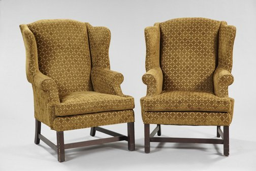 11: George III-Style Upholstered and Mahogany Chairs