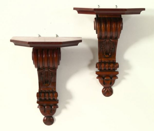 14: English Carved Mahogany Console Bracket Shelves
