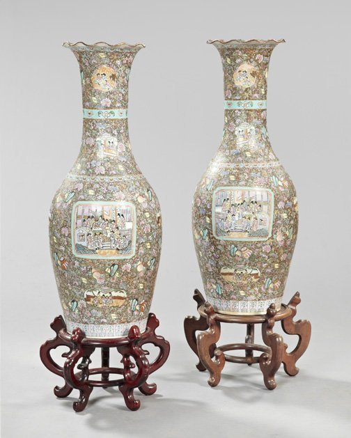18: Chinese Export Famille Porcelain Vases-on-Stands