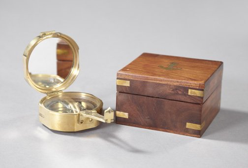 21: Fine Cased Stanley, London, Brass Compass