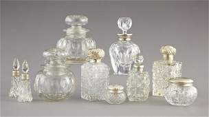 729: Collection of Cut Glass and Silver Toilette Articl