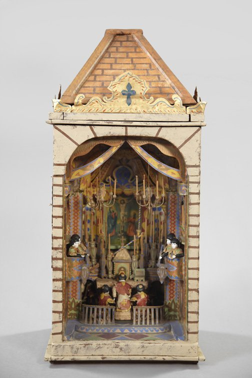834: Elaborate French Mixed Media Diorama,