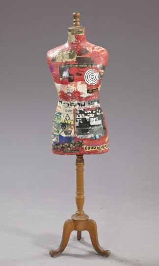 840: Surreal Contemporary Decoupage Dress Form,