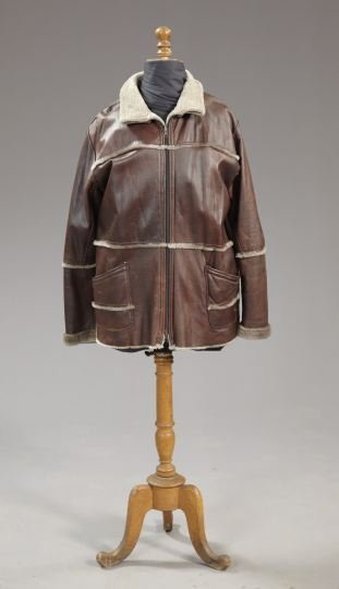 842: Lady's Beaver-Banded Brown Leather Jacket
