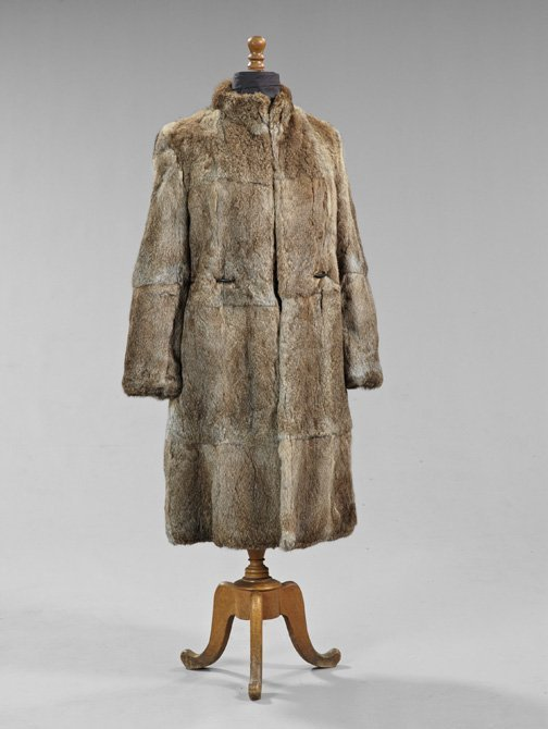 844: Lady's Gray-Brown Rabbit Fur Coat,