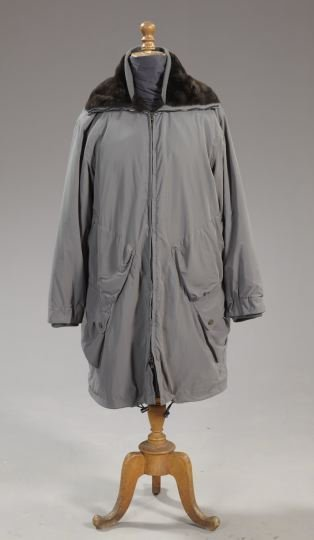 846: Giorgio Armani Fur-Lined Gray Fabric Lady's Coat