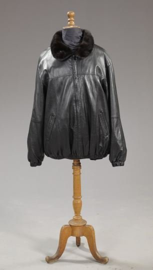 847: Mink-Collared Black Leather Gentleman's Jacket