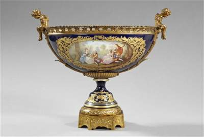 1125: Monumental French Brass-Mounted Porcelain Bowl