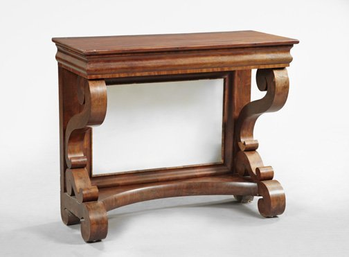 1267: American Late Classical Mahogany Pier Table,
