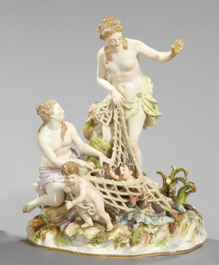 1353: Complex Meissen Porcelain Figure Group,