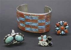 1487 Four Assorted Navajo and Zuni Jewelry Items
