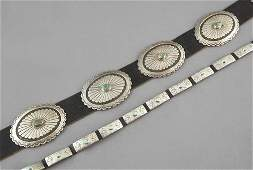 1493 Navajo Silver and Turquoise Concho Belt and Strap