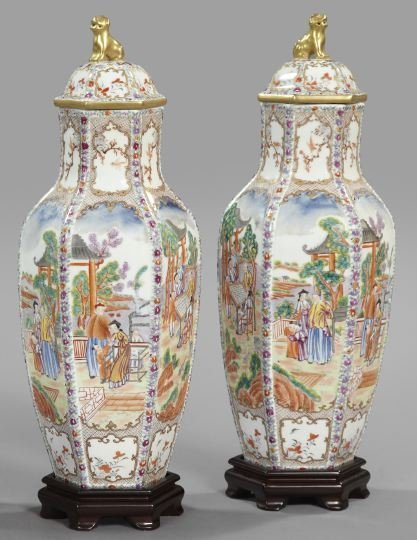 "9: Chinese Export ""Rose Medallion"" Covered Vases"