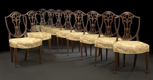 19: Ten George III-Style Mahogany Dining Chairs