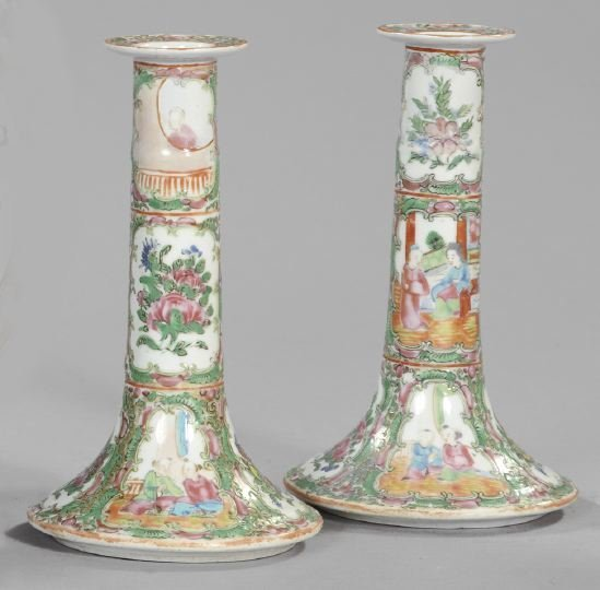 22: Pair of Chinese Export Porcelain Candlesticks