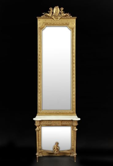 455: Louis XVI-Style Giltwood and Marble Pier Mirror