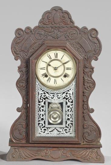 616: Ansonia Clock Company Wood Mantel Clock