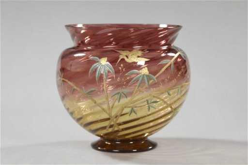 679 Polychromed Amberina Glass Vase