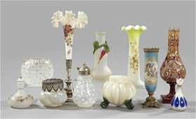 692: Collection of Glass and a Porcelain Vase