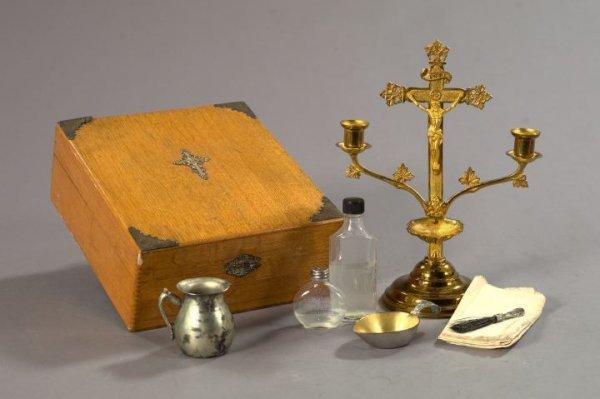 Oak-Cased Viaticum (Traveling Eucharist Set),
