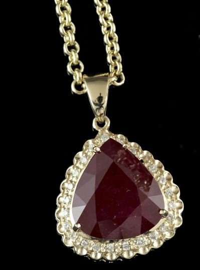 Gold, Ruby and Diamond Pendant Necklace