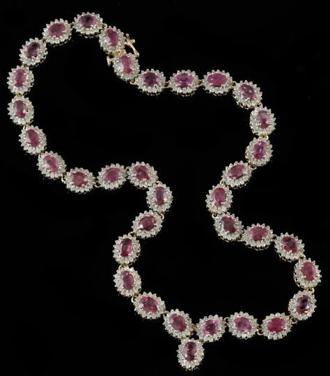 Gold, Ruby and Diamond Shaped Necklace