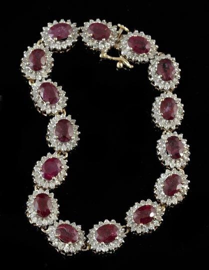 Gold, Ruby and Diamond Lady's Link Bracelet