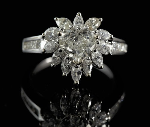 Gold and Diamond Lady's Floral Cluster Ring