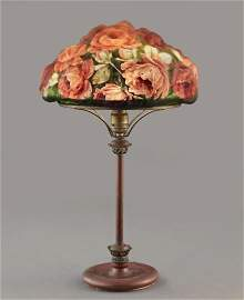 Pairpoint Puffy Reverse-Painted Rose Table Lamp
