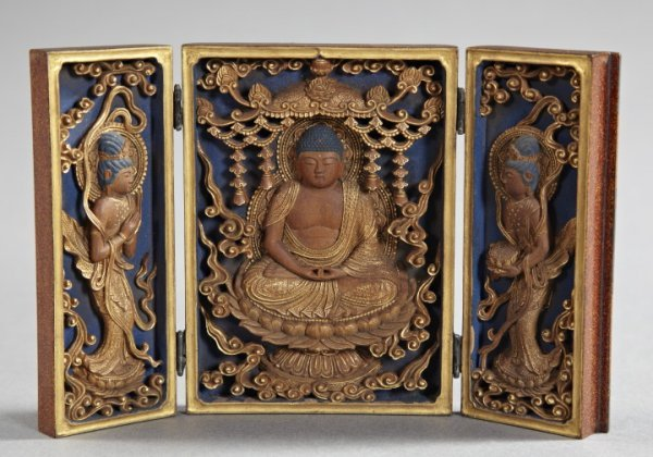 "192: Japanese Edo ""Amida Nyorai"" Votive Triptych"