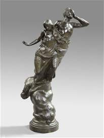 588: Dramatic Italian Patinated Bronze Figure Group