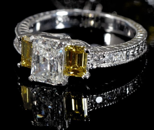841: Gold and White and Fancy Yellow Diamond Ring
